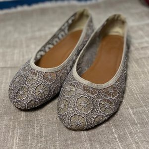 Ornate stitched gray ballet flats